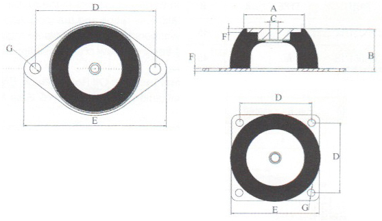 AS flanged vibration mount dimensions