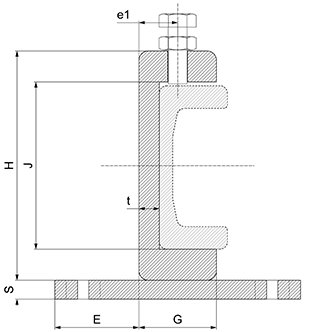 flange clamp for fixing combined roller bearing profiled rails