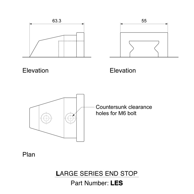 LES end stops for large series exterior slide rail