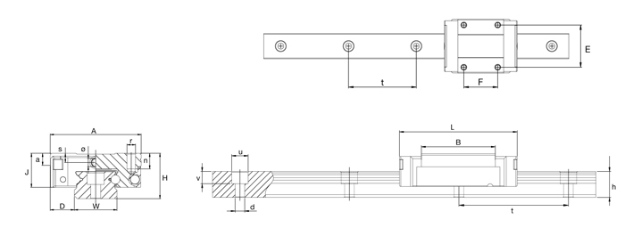 diagram of miniature sliding rail & carriages