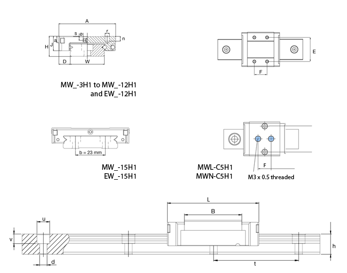 miniature linear sliding system diagram