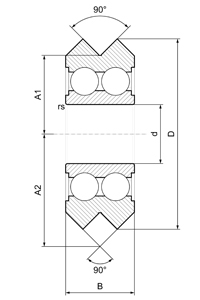 vee bearing dimensions stainless steel