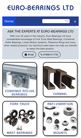 euro bearings mobile website