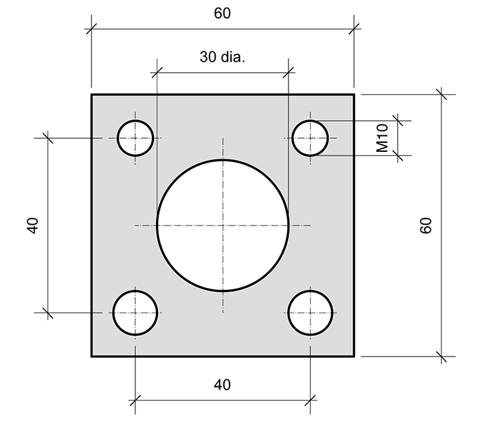 Mounting Plate PL0-SQ for combined roller bearings