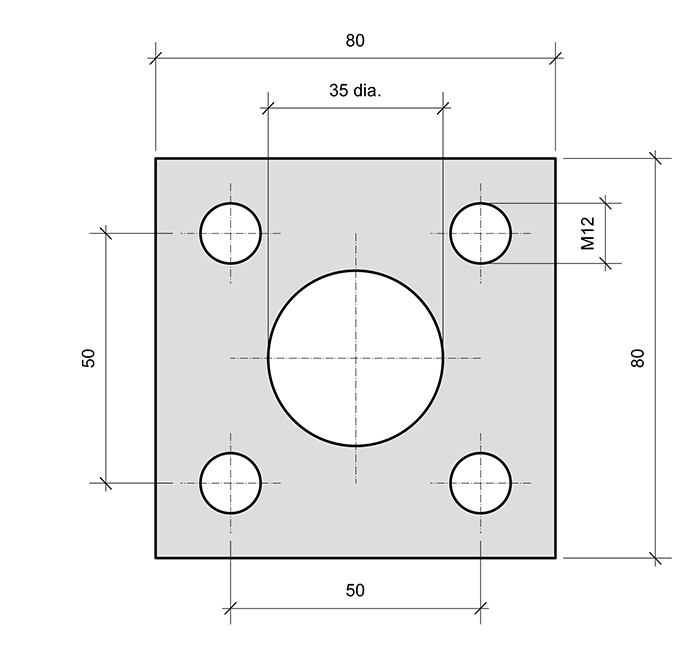 Mounting Plate PL1-SQ for combined roller bearings