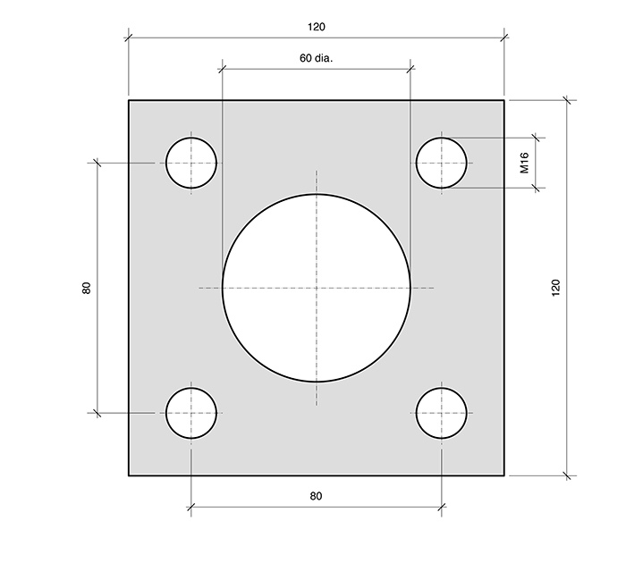 Mounting Plate PL4-SQ for combined roller bearings